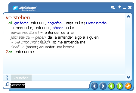 Click to view German-Spanish Collins Dictionary (SP) 2.1 screenshot